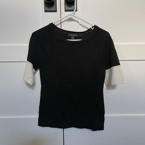 Ann Taylor Black & White Colorblock Sleeve Sweater